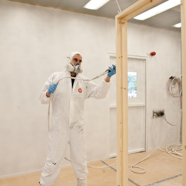 Spraying in Spray Booth 4