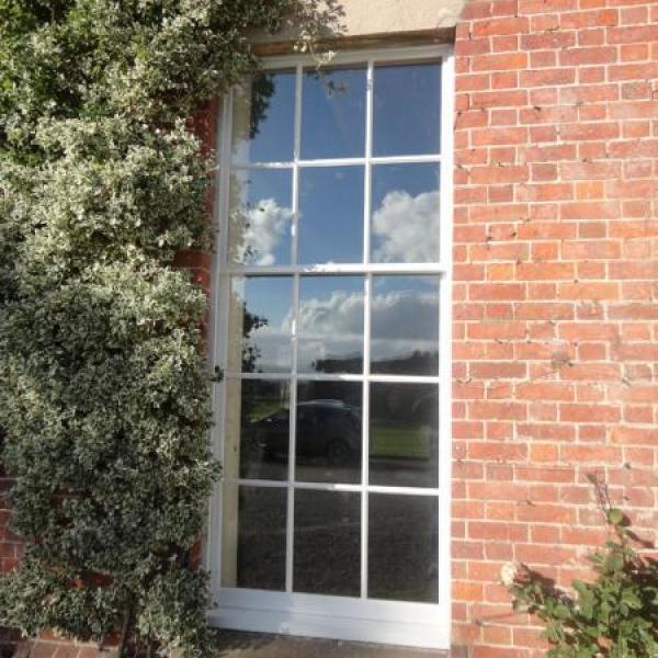 White leaded windows